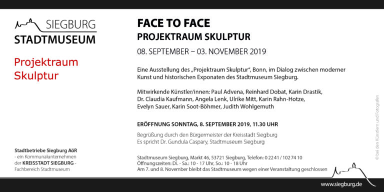 Einladung 08 Sept - 03 November Face to Face Projekt Skulptur